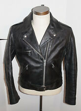 WOMEN'S VINTAGE 1970s SEARS BLACK LEATHER MOTORCYCLE JACKET! CLASSIC STYLE! 14