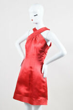 Oscar de la Renta Red Satin Crossover Strap Sleeveless Dress