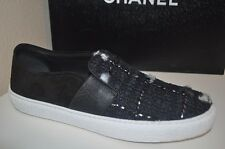 CHANEL 16B Black Blue Silver Tweed Suede CC Logo Slip On Sneakers Flat Shoe 35.5