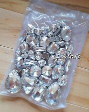 50pcs Mixed Sew On CLEAR Crystal Glass Diamante Claw Set Rhinestone Gem Bling