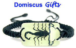 NEW! Real INSECT Black SCORPION BRACELET Glow In The Dark Jewelry PENDANT