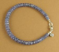 Sapphire bracelet. Light blue. Flower charm. Sterling silver 925. Handmade.