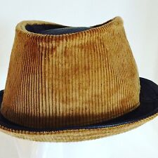 Jill Corbett pinch trilby leather/corduroy brown/mustard Handmade to order UK