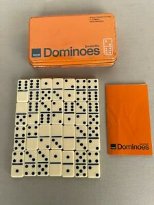 Vintage DOMINOES Double 6 Set of 28 Tiles in Tin