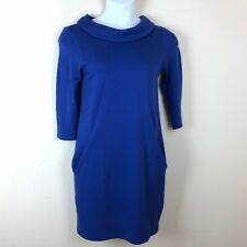 Pure Collection Dress Womens Size 8 10 Blue Ponte Shift Stretch Pockets Career