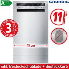 Grundig A+++ Geschirrspüler Edelstahl Spülmaschine 45 cm Stand Spüler Unterbau