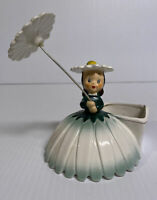Napco Green Daisy Flower Girl Planter S1702C 1956 Umbrella Parasol