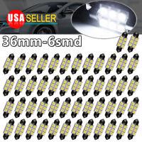 50X White 36MM 5050 Festoon Led Dome Map Interior Light Bulbs DE3425 6411 6418