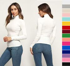 S M L Women's Basic Turtleneck Top Soft Stretch Knit Cotton Solids Long Sleeve