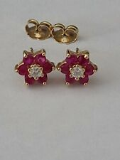 14k Effy Ruby & Diamond Flower Stud Earrings