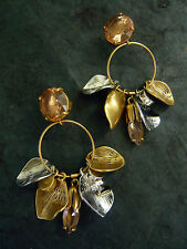 "NEW J. CREW PETAL HOOP CRYSTAL EARRINGS BUTTERFLY BACK 2-3/8""l x 1""W"