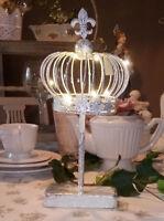 Deko Krone auf Fuß Metall Lilie Silber LED Shabby Vintage Landhaus Brocante 33cm