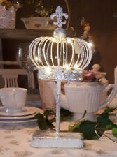 Deco Crown on Base Metal Lily Silver LED Shabby Vintage Landhaus Brocade 15in