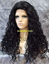 Long Layered Spiral Curls Jet Black Full Lace Front Wig Heat Ok Hair Piece #1