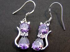Purple crystal cat drop/dangle earrings 925 sterling silver hook women's ladies