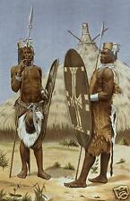 Azande zande nyam nyam GUERRIERI Africa centrale Congo Sudan 1898, 7x5 pollici stampa