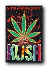 STRAWBERRY KUSH - WEED BLACKLIGHT POSTER - 24X36 FLOCKED MARIJUANA POT 1702