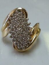 .87CT Ladies Diamond Cluster Cocktail Ring Band 14K Yellow Gold
