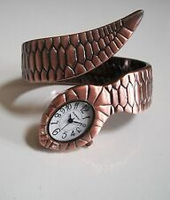 ROSE GOLD FINISH  DESIGNER SNAKE STYLE WOMEN'S BANGLE CUFF WATCH