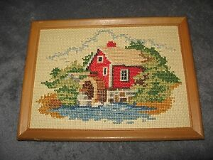 Cross Stitch Embroidery Mid Century Vintage 1950's Red Barn Water Wheel Framed