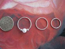3 Silver Hoop Nose Rings/ Earrings w/ Pearl Small, Medium & Large