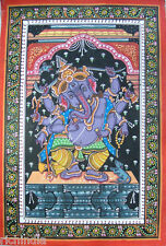 Hindu God Ganesha Hand painted miniature Painting Tantra Tantric Art Yoga India