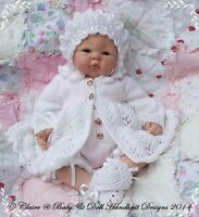 "BABYDOLL HANDKNIT DESIGNS KNITTING PATTERN FERN LACE 14-24"" DOLL OR 0-3M BABY"