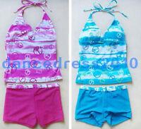 New Girls Bikini Swimsuit Bathing Swimwear Tankini Swim Costume SZ 8-16Y 2 PIECE