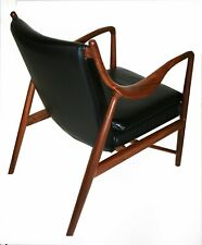 Finn Juhl Copenhagen 45 Style Mid Century Modern Chair Solid Walnut  Leather