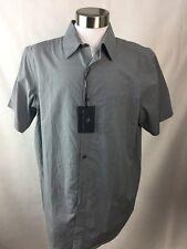 Hart Schaffner Marx Shirt Mens Size Large Grey Ink 12% Linen New A49