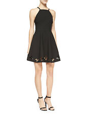 ELIZABETH AND JAMES Black 'Enary' Laser Cut Out Flare Dress Size 0 NWT $385