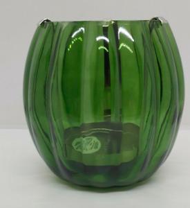 NEW BATH & BODY WORKS GREEN PUMPKIN CANDLE HOLDER GLASS SINGLE WICK LUMINARY