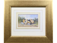 'The Hatchlings' - Original Watercolour, signed. Chickens, Animals, Birds