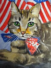 Watercolor Painting Cat American Flag Patriotic Bow ACEO Art