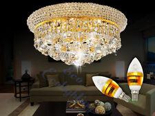 Modern Iron k9 Crystal Chandelier Ceiling Pendant Light Lamp Gold 35X20cm