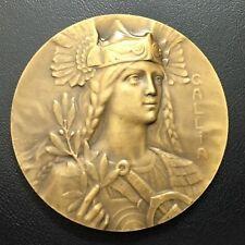 Art Nouveau Marianne as Queen of Gaul GALLIA Rare medal by Pierre Al. Mor / M78