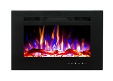 2018 26 INCH WIDE LED FLAMES BLACK GLASS TRUFLAME WALL MOUNTED ELECTRIC FIRE