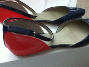 Boden ColorBlock navy/red flat shoes sz 37 / 7 NIB