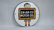 VINTAGE ENARCO GASOLINE PORCELAIN SIGN GAS MOTOR OIL SERVICE STATION PUMP RARE