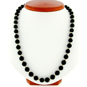 "Estate 30"" Long 8mm Black Onyx Bead Strand Slip-On Necklace w/ 14K Gold Beads"