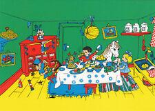 Kunstkarte: Pippi Langstrumpf mit Annika, Tommi und kleiner Onkel beim Essen