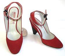ACCESSOIRE DIFFUSION Sandales semi compensées tout cuir rouge 36 EXCELLENT ETAT