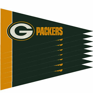"""New Green Bay Packers Mini Pennant Banner Flags 4"""" x 9"""" Fan Cave Decor 8 Pk Set"""
