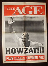 1994 The Age Shane Warne HOWZAT Hat Trick Newspaper Cricket Poster