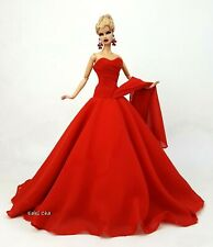 Eaki Handmade Red Evening Dress Outfit Gown For Silkstone Fashion Royalty FR