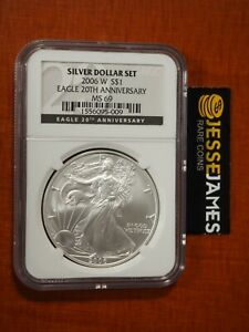 2006 W BURNISHED SILVER EAGLE NGC MS69 FROM 20TH ANNIVERSARY SET BLACK LABEL