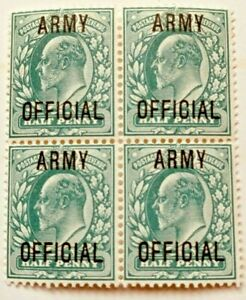 KEVII ½d Blue-Green Army Official SG 048 Block Of Four Mint