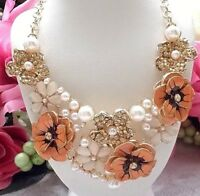 BEAUTIFUL BETSEY JOHNSON CRYSTAL PEARL & ENAMEL PEACH BLOSSOM FLORAL  NECKLACE