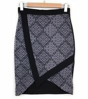 Metalicus Cross Over Pencil Skirt Size 1 XS Black Grey Pattern Faux Wrap Womens