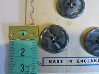 4 18mm Grey 4 Hole Vintage Buttons 1960-1970s On Original Card